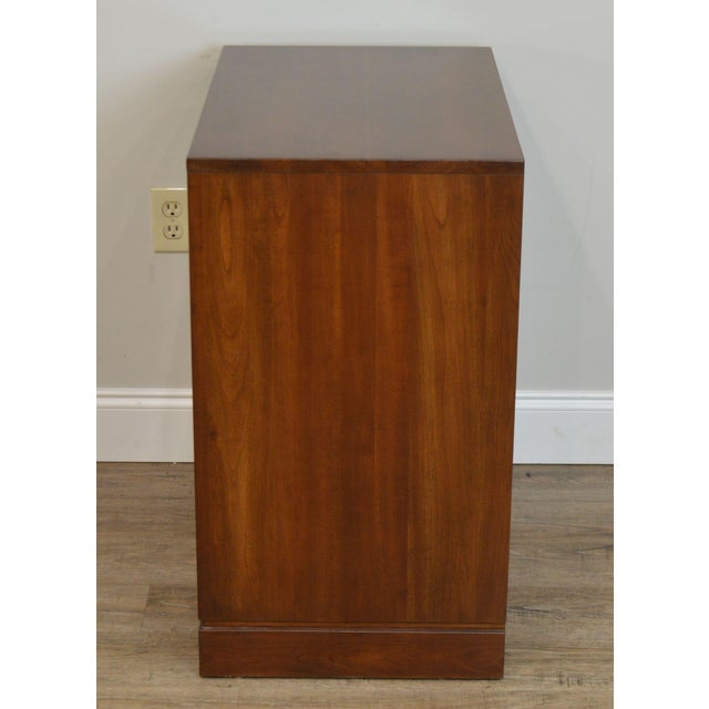 1980s Ethan Allen Campaign Style Pair Solid Cherry 3 Drawer Chests Nightstands For Sale - Image 5 of 13