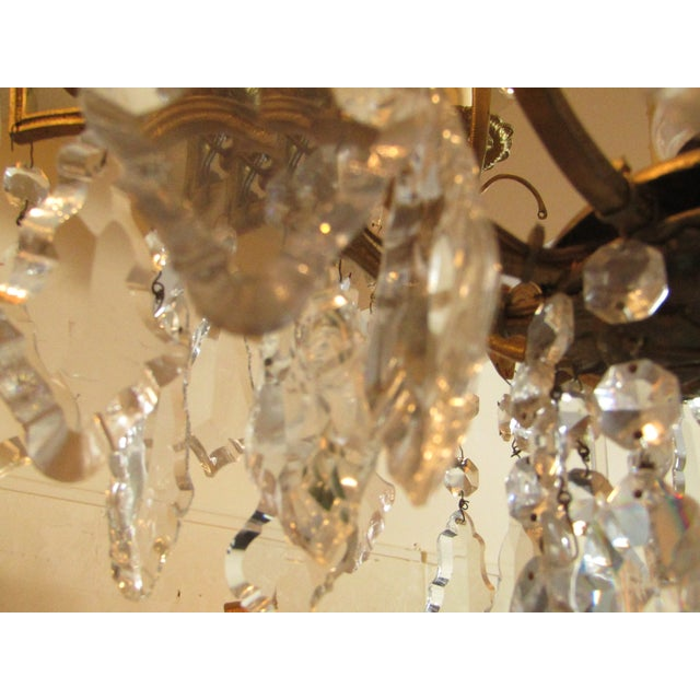 Antique Gold Metal Crystal Chandelier - Image 5 of 6