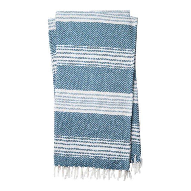Kenneth Ludwig Blue & White Woven Throw For Sale