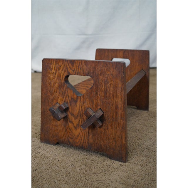 Antique Mission Oak Book Rack - Image 5 of 10