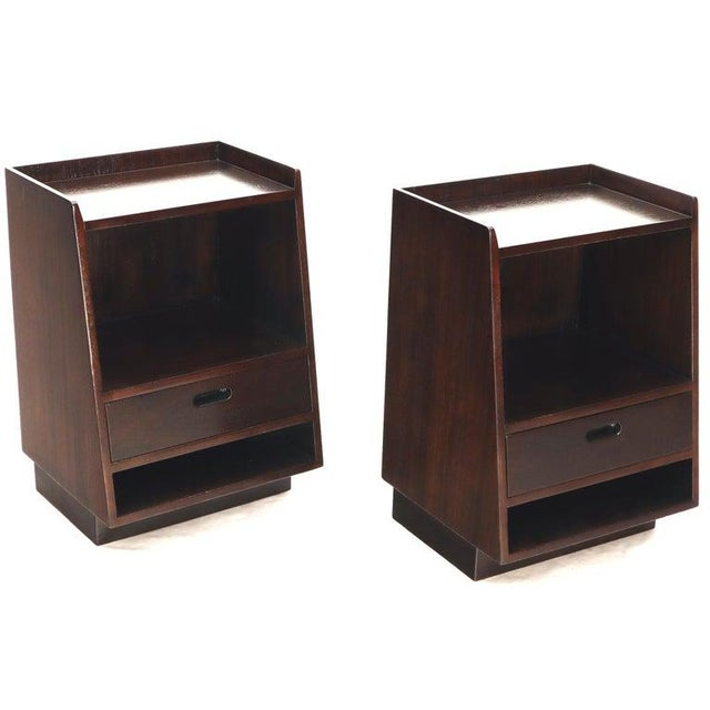 Pair of Edward Wormley for Dunbar Dark Chocolate End Tables Nightstands For Sale - Image 12 of 13