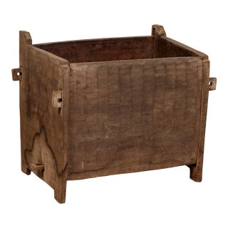 Antique Indian Wooden Planter Box with Weathered Patina and Protruding Accents For Sale