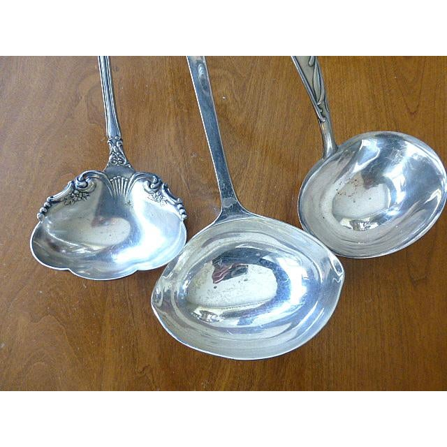Mid 20th Century Mid 20th Century Vintage Classic Modern Silverplate Punch Ladle Eggnog Assortment - Set of 3 For Sale - Image 5 of 6