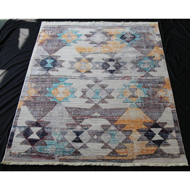This modern rug with Kilim patterns is woven from 100% top quality natural cotton on Turkish looms for enduring beauty, so...