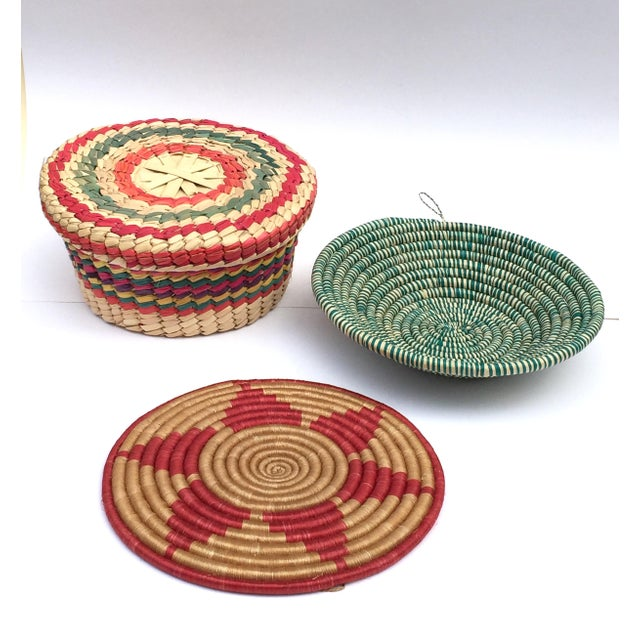 Boho Chic Multicolored Woven Baskets - Set of 3 For Sale - Image 3 of 8