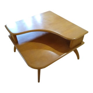 1950s Heywood Wakefield Two-Tier Corner Table For Sale