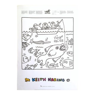 "Keith Haring Estate Rare Vintage 1991 Lithograph Print "" Fishing "" Collector's Pop Art Poster For Sale"