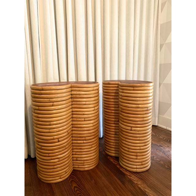 1970s Boho Chic Bamboo Table Bases - a Pair For Sale - Image 5 of 5