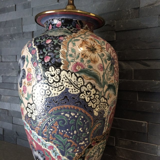 Asian Vintage Ceramic Chinoiserie Floral Lamp For Sale - Image 3 of 9