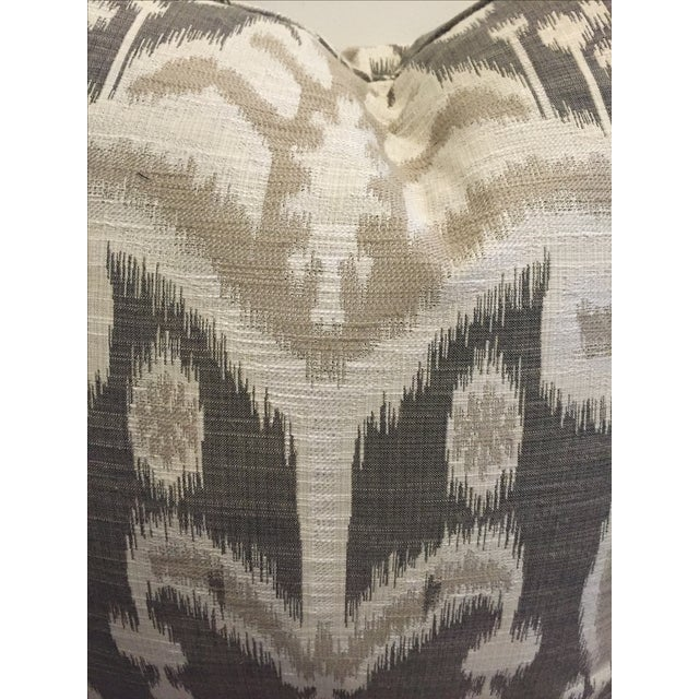Contemporary Crate & Barrel Gray Linen Ikat Pillows - A Pair For Sale - Image 3 of 3