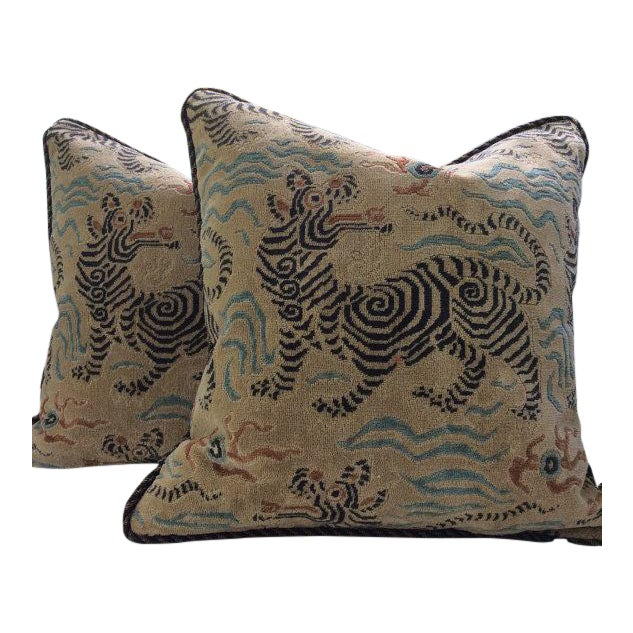 Clarence House Pillows in Tibetan Dragon Raised Velvet - a Pair For Sale