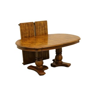 "French Country Fruitwood Double Pedestal Parquet Top 98"" Dining Table For Sale"