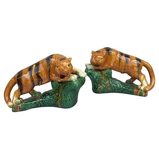 Chinese Magolica Glazed Terracotta Tigers Animal - a Pair For Sale
