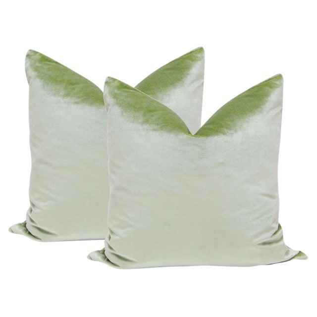 "22"" Italian Silk Velvet Pillows in Pistachio - A Pair For Sale"