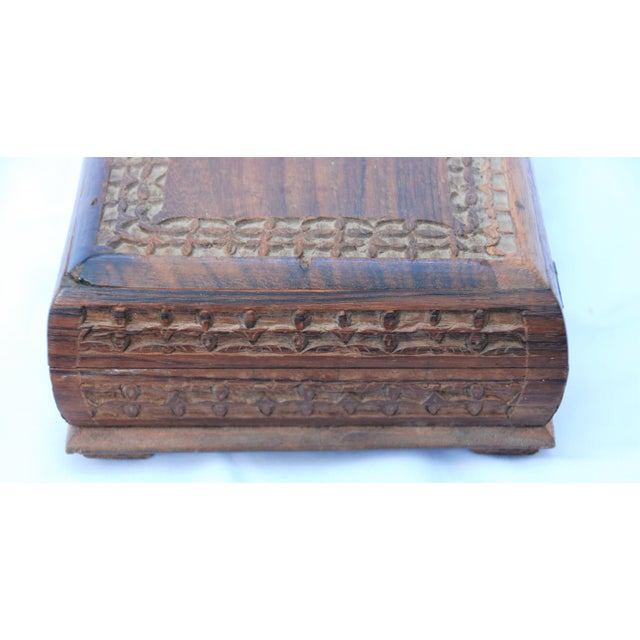 Vintage Carved Wooden Footed Jewelry Box For Sale - Image 4 of 10