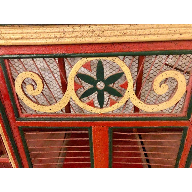 Early 20th Century Americana Folk Art Circus Tent Style Original Painted Bird Cage For Sale - Image 5 of 13