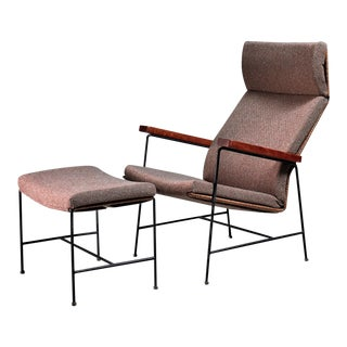 Arden Riddle Lounge Chair with Ottoman For Sale