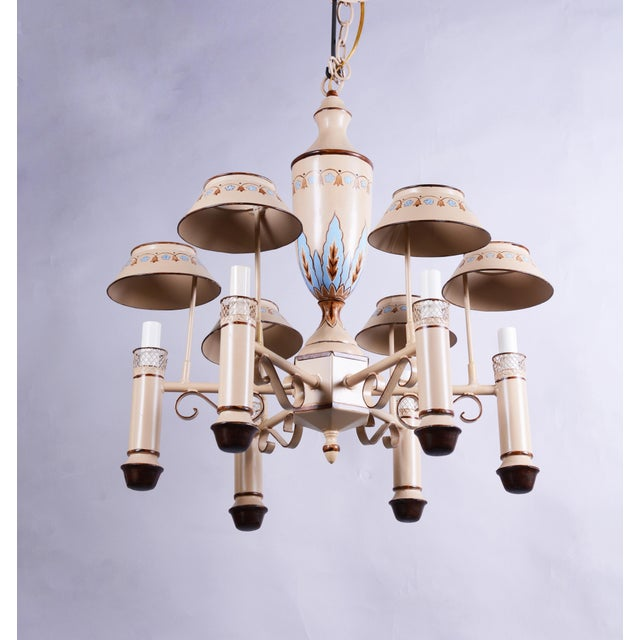 Vintage Chandelier With Six Lamp Holders With Shades For Sale - Image 4 of 10