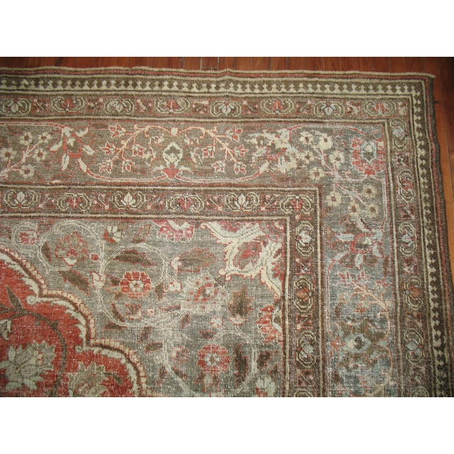 Shabby Chic Persian Tabriz Rug - 9′6″ × 12′8″ For Sale - Image 7 of 7