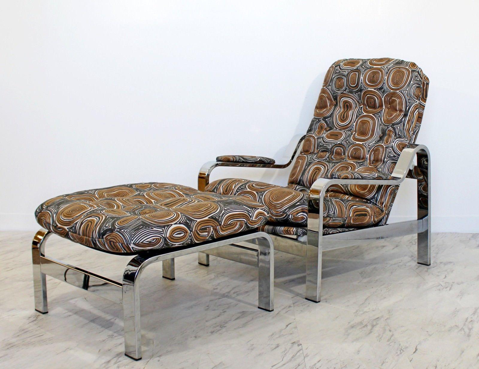 Mid Century Modern Baughman Chrome Steel Reclining Lounge Chair Ottoman  Italian   Image 2 Of 10