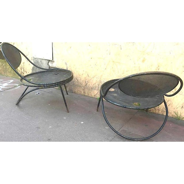 "Mathieu Matégot, Pair of Chairs documented Model ""Copacabana"" in Genuine Vintage Condition."