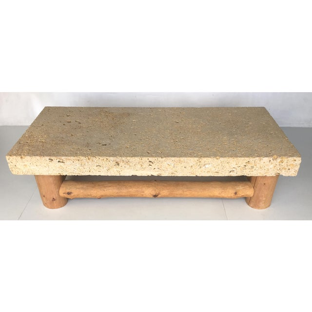 Distinguished monumental fossil stone coffee table by for Fossil coffee table