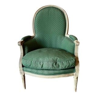 18th Century Green Louis XVI Bergere Chair For Sale