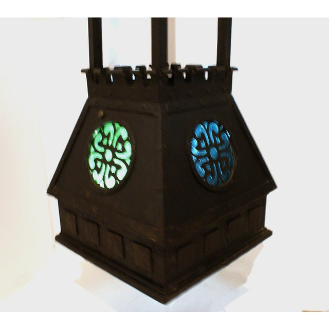 Early 20th Century Arts and Crafts Style Hammered Metal Hanging Light For Sale - Image 5 of 6