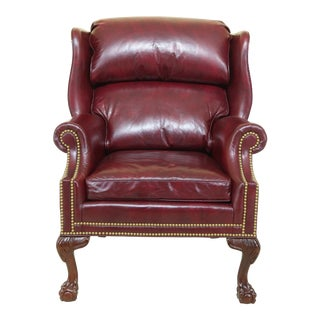 Hancock & Moore Burgundy Leather Ball & Claw Wing Chair For Sale
