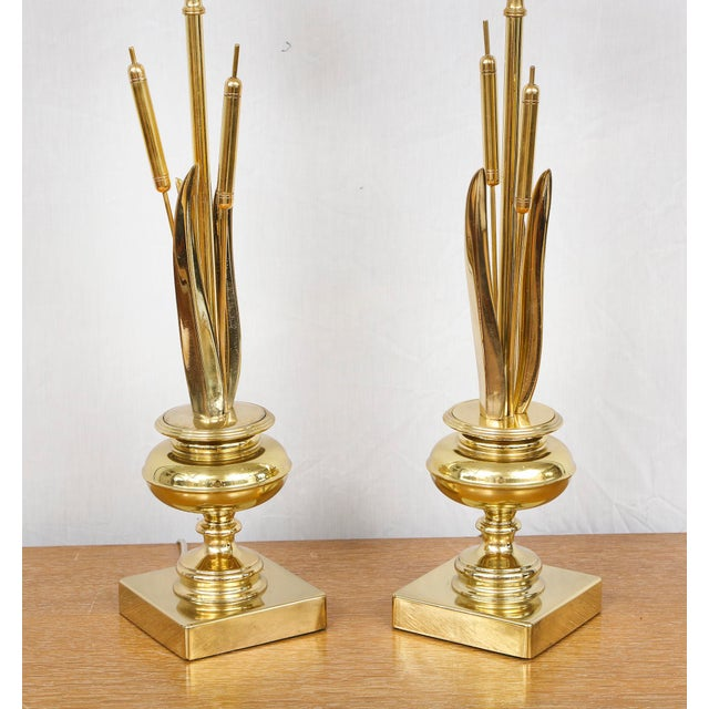 Hollywood Regency Pair of Brass Cattail Lamps For Sale - Image 3 of 8