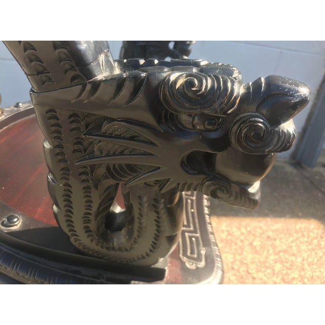 Brown Qing Dynasty Carved Ebonized Rosewood Dragon Phoenix Throne Chair For Sale - Image 8 of 12