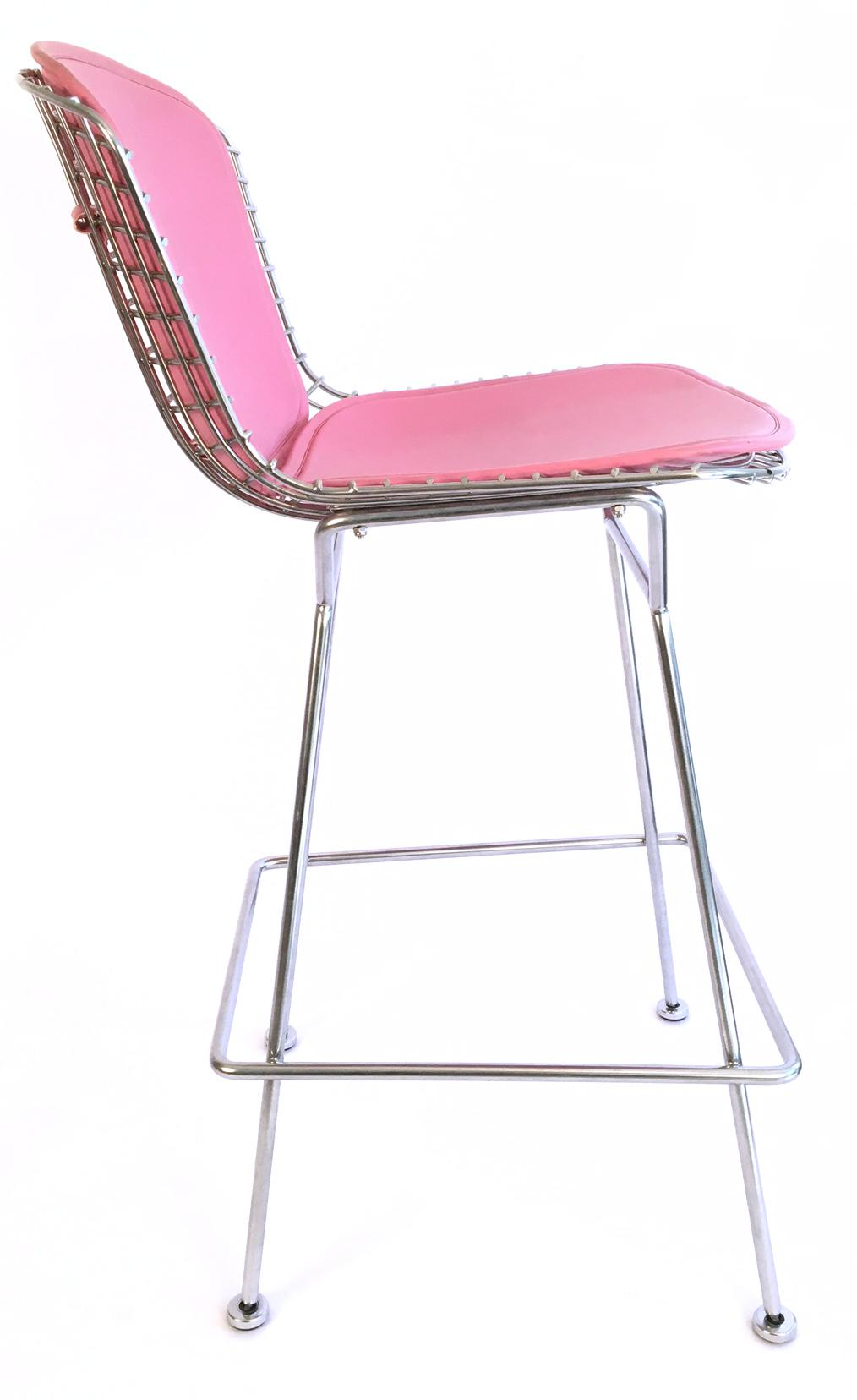 Pink Harry Bertoia Knoll Signed Chrome Bar Counter Stools