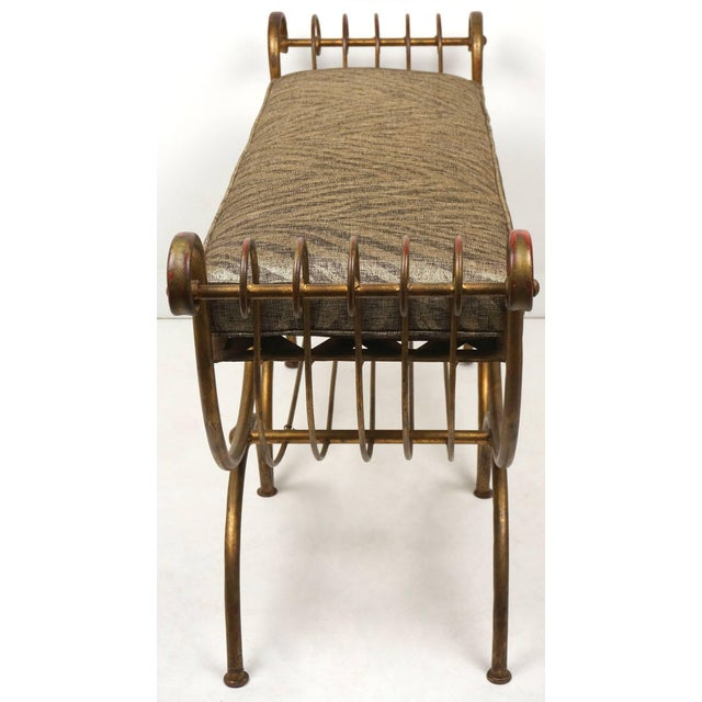 Hollywood Regency Gold Gilt Metal Bench With Tiger Cushion, Italian 1960s For Sale - Image 4 of 11