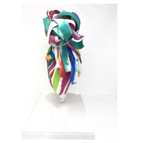 """Paper sculpture """"Ribbons #24"""" by Groboski. Includes the lucite case. Period: 1950-1979 Materials: Paper and Watercolor"""