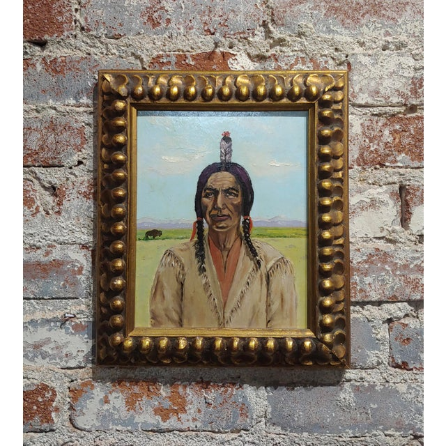 Joseph Hoffman -Portrait of Chief Joseph -Native American Oil Painting For Sale - Image 9 of 9