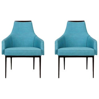 1960s Kipp Stewart for Calvin Furniture Reupholstered Teal Armchairs - a Pair For Sale