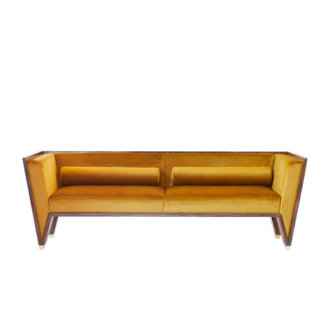 Brass Customizable Wedge Sofa For Sale - Image 7 of 9