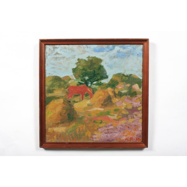 1940s 1946 Orla Muff Expressionist Pastoral Scene For Sale - Image 5 of 5