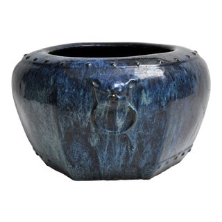 Blue Mottled Glaze Pot With Animal Mask