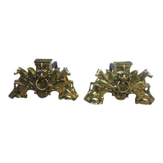 Brass Horses and Lion Andiron Set - a Pair For Sale