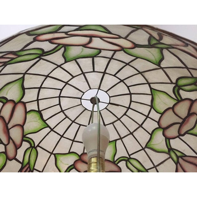 """Large 20"""" Vintage Capiz Shell & Brass Lamp Shade For Sale - Image 9 of 12"""