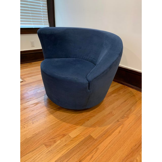 Directional Modern Vladimir Kagan for Directional Nautilus Ultrasuede Swivel Chairs- a Pair For Sale - Image 4 of 10