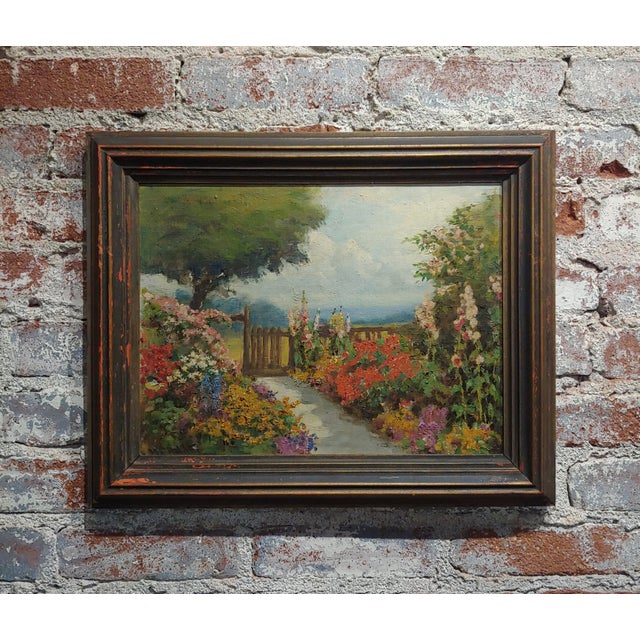 William Constable Adam-Beautiful Flower Garden With Gate -Oil Painting-1900s For Sale - Image 10 of 10