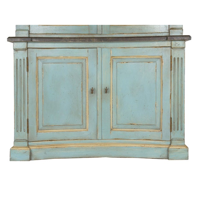 Blue Swedish Gustavian Style Blue Painted Bookshelf Cabinet Bookcase by Lillian August For Sale - Image 8 of 13