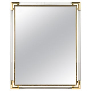 French Lucite and Brass Mirror by Guy Lefevre For Sale