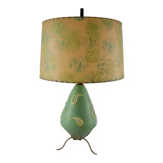 Mid-Century Modern Pottery Table Lamp and Fiberglass Shade in Paisley Green Tones For Sale