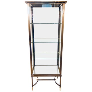 A French Hollywood Regency / Directoire Style Steel and Bronze Vitrine Cabinet.