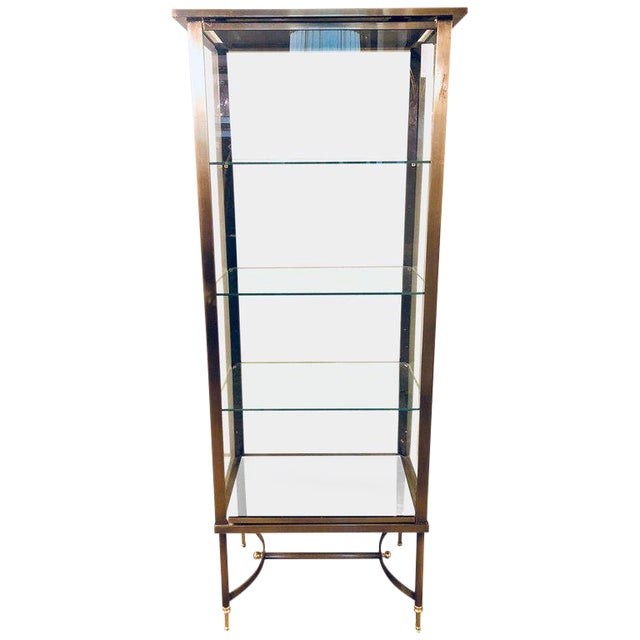 A French Hollywood Regency / Directoire Style Steel and Bronze Vitrine Cabinet. For Sale
