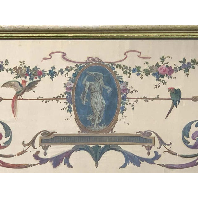 Robert Adam Style Painted Interior Architectural Panel, Framed For Sale - Image 4 of 10