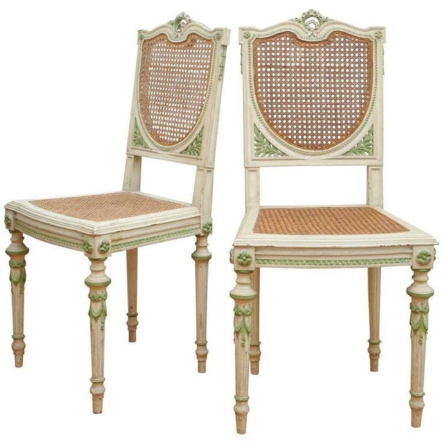 Painted Italian Green and White Side Chairs - a Pair For Sale In New York - Image 6 of 6